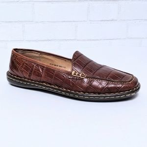 Born Brown Croc Leather Slip-On Loafers 8